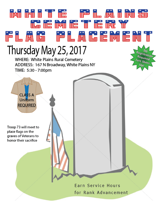 2017 may 25 flag placement troop 73 white plains ny for Proper placement of american flag